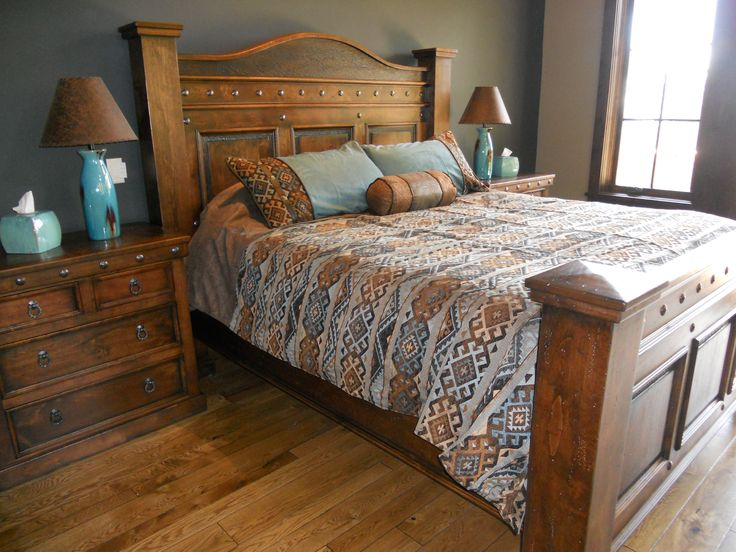 Durango Bed With Honey Stain And Black Glaze | Western Furniture | Mountain  Style Furniture |