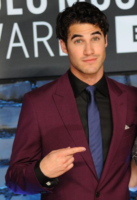 for the VMAs in 2013, Darren Criss wore a purple suit with glittery purple shoes and glitter purple nail polish<<<'cause he's swag