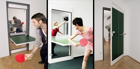 Ping-Pong Door!  I got room for this.. grab the paddles and a ball! Love it!