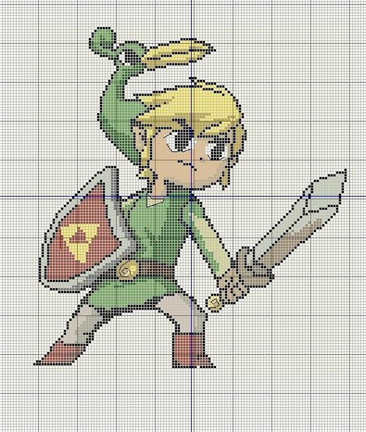 Buzy Bobbins: Link from the Minish Cap cross stitch design