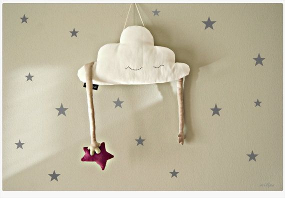 Kids Pillow Cloud Stuffed Cloud shaped pillow Baby mobile softie star Baby&Toddler  - white, beige, pink. Nursery room decor 16'' (41cm)