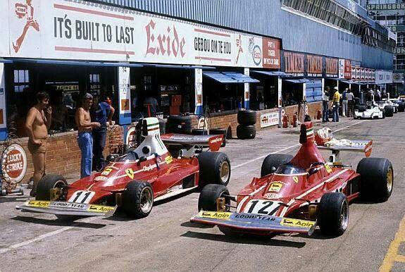 Ferrari 312 T -021 (car #11) Clay Regazzoni and Ferrari 312 B3 -020 (car #12T) Niki Lauda back-up car (ie, T-car), 1975 South Africa GP, Kyalami