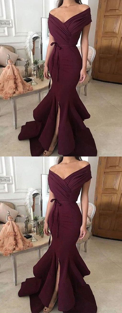 Simple off shoulder long prom dress, evening dress Prom Gowns, Formal Women Dress , M1286 ... sleeves NBNBNB