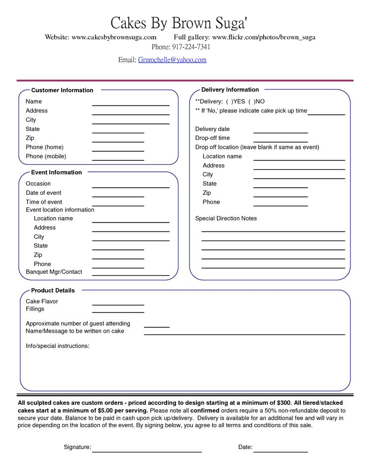 75 best images about Cake Business Order Form – Event Agreement Template
