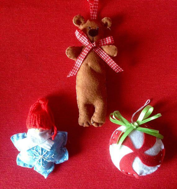Ornamenti di Natale ornamenti di feltro di LaTanaDiOtto su Etsy