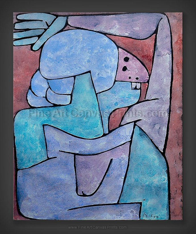 Paul Klee: Woman Cursing 1939 - Red - Fine Art Giclee Canvas Prints