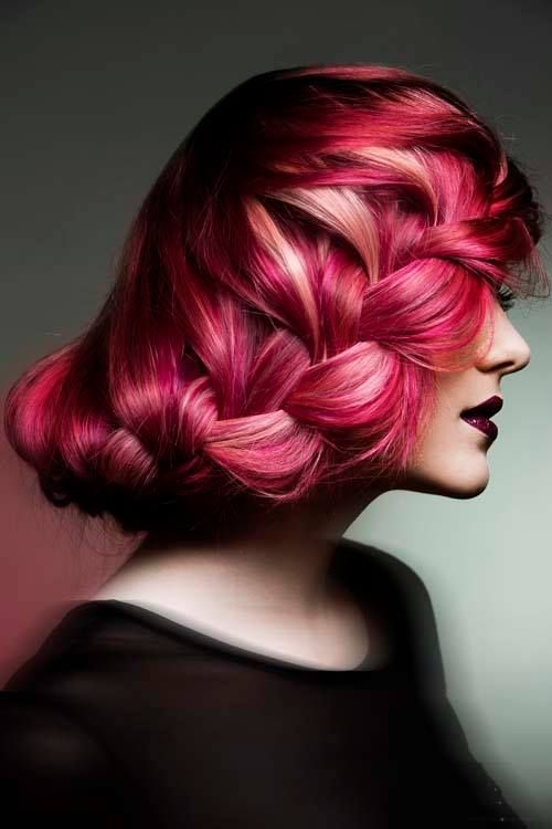 Lovely pink braided updo. We love the hair color and the hairstyle. #youresopretty