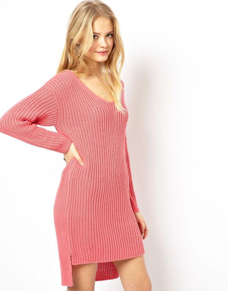 Pink Long Sleeve Knit Sweater Dress - abaday.com