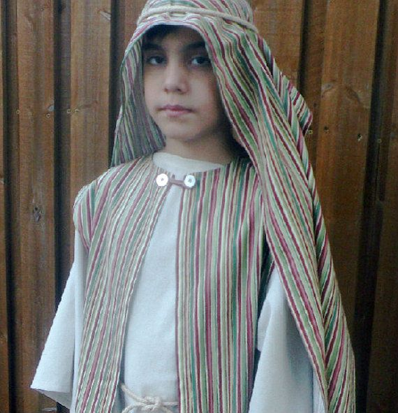 Children's Bible Costume, Brown Stripe Vest and Scarf, Apostles, Joseph, Shepherd, Disciple, Nativity, Bible , Christmas,Halloween