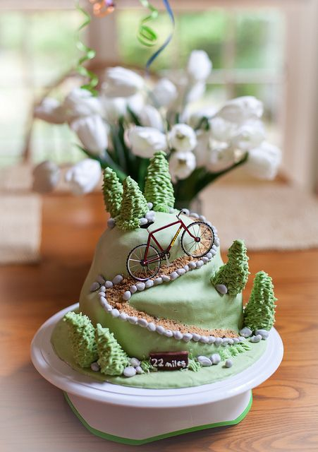 Mountain + bike + cake