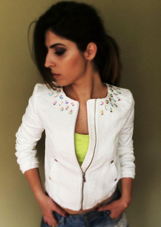 Beaded white jacket by pookadesign on Etsy #white #jacket #etsy #chic