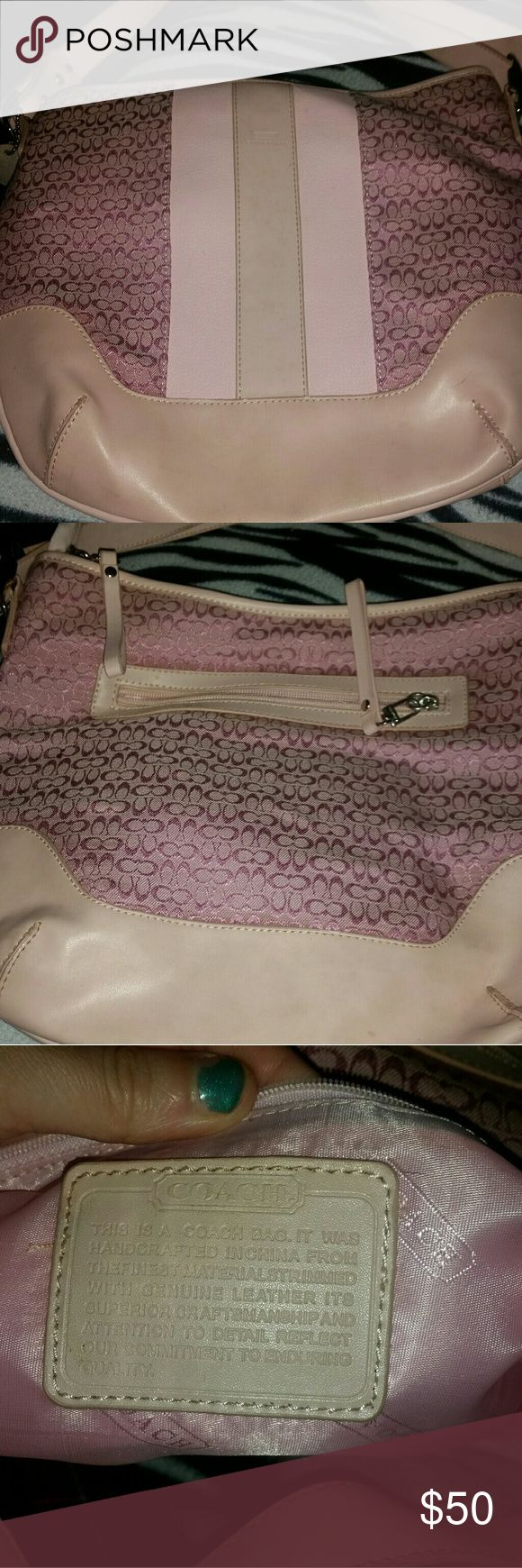 Vintage coach purse Beautiful pink coach purse. Clean inside. Strap a little dirty. Will come clean with leather cleaner. Small mark on the back also. Authentic. No other signs of wear. Coach Bags Shoulder Bags
