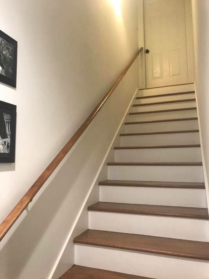 Farmhouse Basement Remodel White Oak Stairs Painted Risers   White Oak Stair Risers   Stair Nosing   Handrail   Staircase Makeover   Stair Railing   Paint