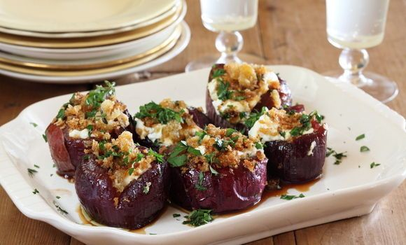 Maggie Beer's Baby Red Onions Stuffed with Goats Cheese