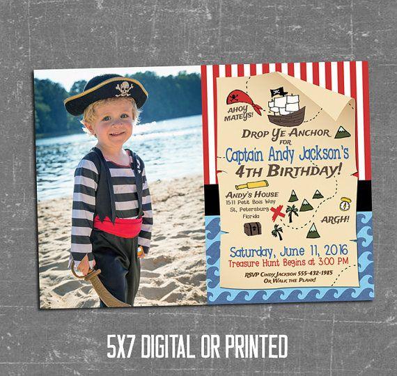 Pirate Invitation, Pirate Birthday Invitation, Treasure Hunt Invitation, Treasure Map Invitation, Red, White, Black, Printable, Photo