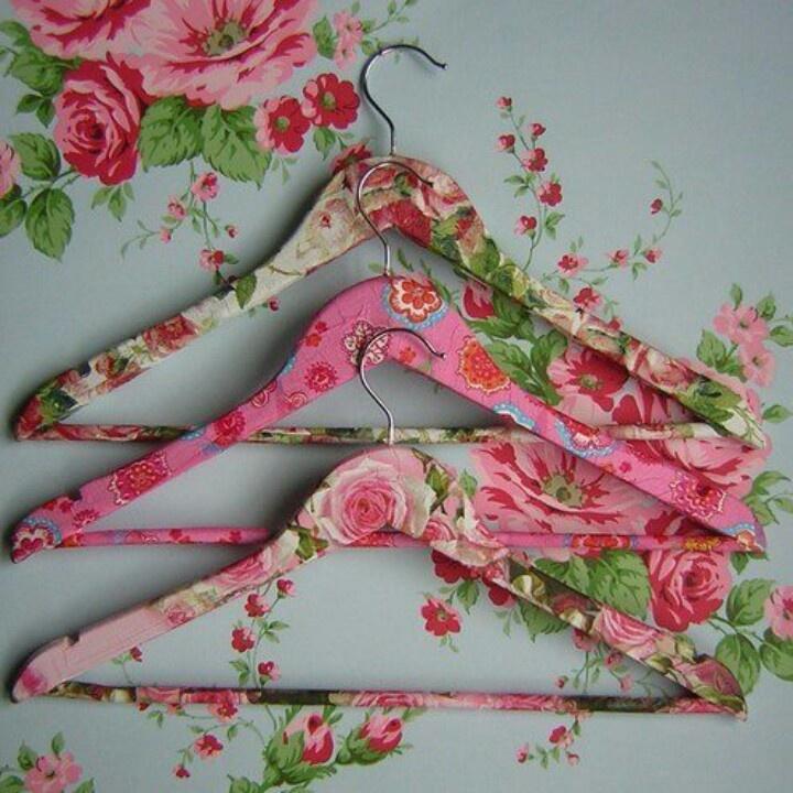 Decoupage old hangers.