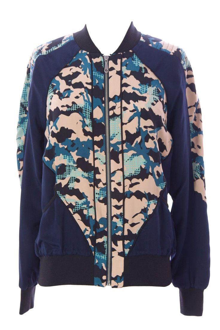 Rebecca Minkoff Women's Graphic Silk Zip Up Nolan Jacket Sz X-Small Navy / Camel. 100% Silk. Lining: 97% Polyester, 3% Spandex.