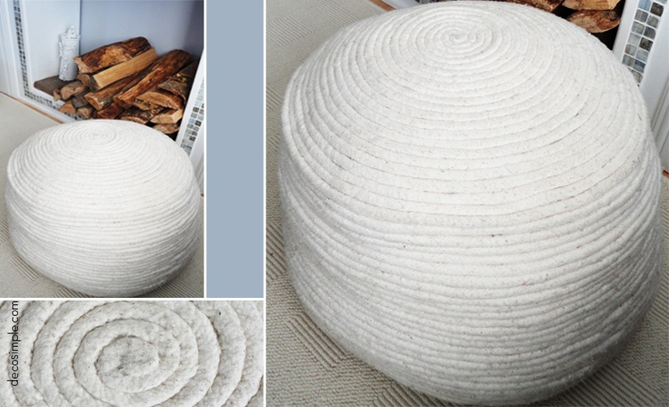 Cotton rope pouf