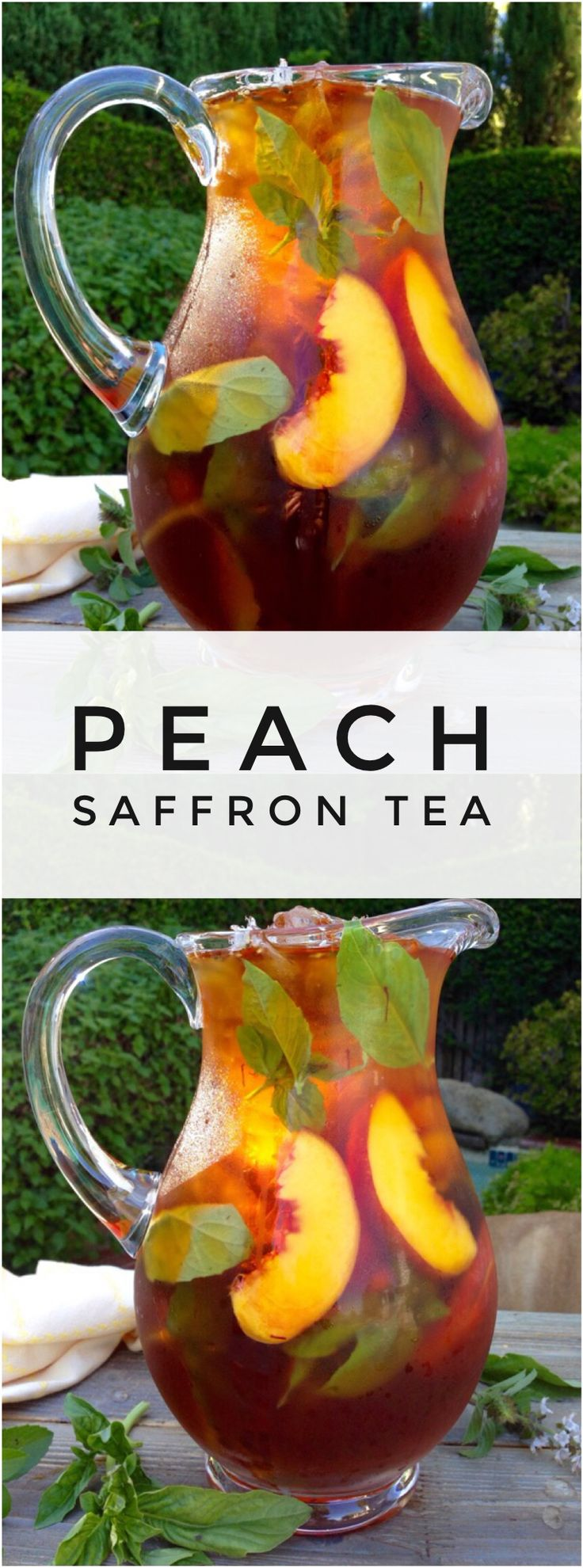 Healthy Skin Iced Saffron Tea Recipe with Peach and Basil | CiaoFlorentina.com @CiaoFlorentina