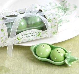 Two Peas in a Pod Salt & Pepper Shakers (Kate Aspen 23008GN) | Buy at Wedding Favors Unlimited (http://www.weddingfavorsunlimited.com/two_peas_in_a_pod_ceramic_salt_pepper_shakers.html).
