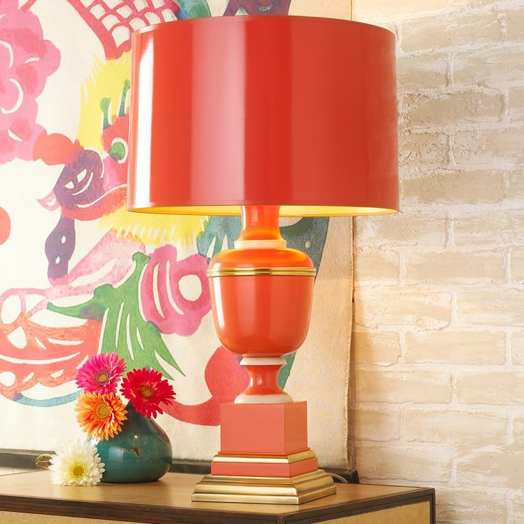 Orange Table Lamp offers Colorful Industrial Decor Ideas