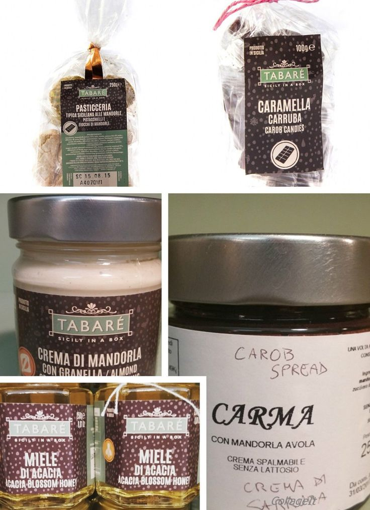 A sweet selection of top quality Sicilian products:  • 1 pack of pistachio and Almond cookie 250 gr • 1 packet of carob candies 100gr • 1 jar of carob and Almond cream 250gr • 1 jar of acacia Honey 250 gr • 1 jar of Almond Cream with grains 190 gr.