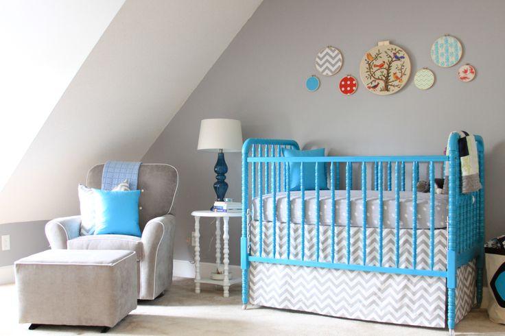 Baby Nursery with painted Jenny Lind crib. DIY hoop art ...