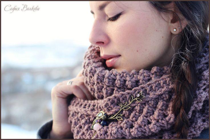 """Купить Шарф """"Туманная ежевика"""" - шарф, объемный шар, шарф ручной работы, вязанй шарф"""