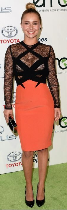 Who made Hayden Panettiere's orange lace dress and black patent pumps that she wore in Burbank on October 19, 2013?