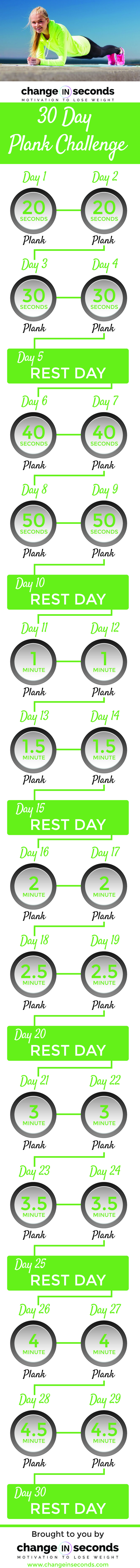 30 Day Plank Challenge (Download PDF) http://www.changeinseconds.com/30-day-plank-challenge/