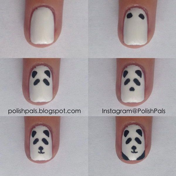 Simplistic Panda Nail Art, http://hative.com/cool-and-easy-step-by-step-nail-art-designs/