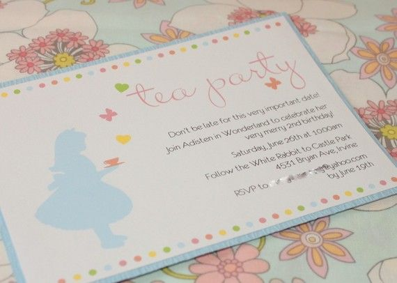 Cute little girl tea party invite