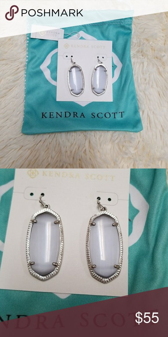 Kendra Scott Elle rhodium slate cats eye earrings Worn twice. There are a couple of tiny scratches on one of the earrings. Barley noticeable and hard to tell in photos. Original tag and dust bag included. Kendra Scott Jewelry Earrings