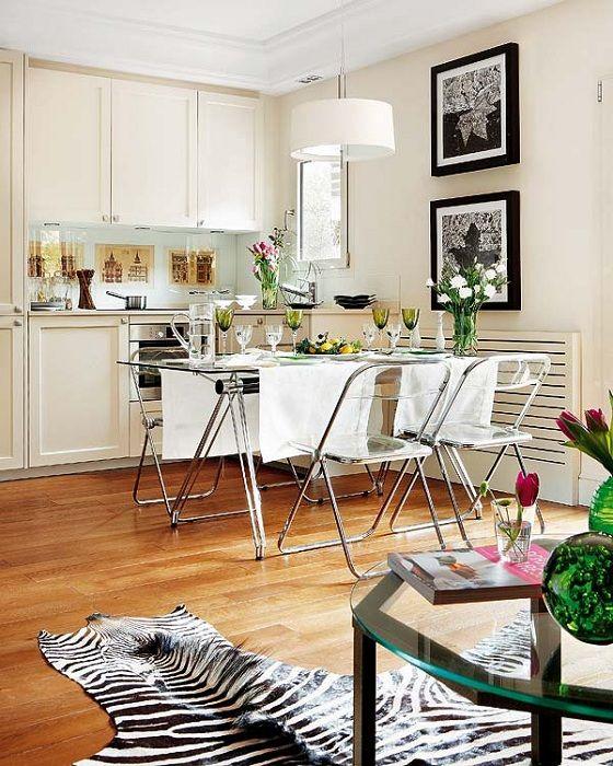 Красивое оформление обеденного стола, который создаст легкую и непринужденную обстановку в целом.