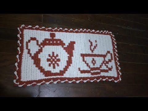 tapete crochê simples bules e xícara (1 parte) - YouTube