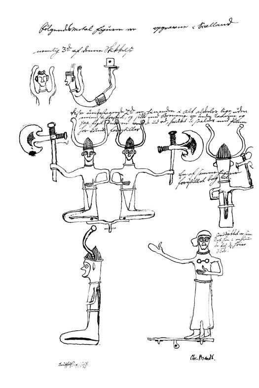 Hvad blev hjelmene brugt til? Viksø-hjelmene har ikke været meget bevendt i krig og kamp – dertil er de for upraktiske. I stedet må vi forestille os, at de er blevet anvendt i forbindelse med forskellige religiøse ritualer. En idé om, hvordan hjelmene blev brugt, kan vi få ved at se på figurer og afbildninger af hjelmklædte mænd. To små mandsfigurer af bronze, som blev fundet i 1700-tallet ved Grevensvænge nær Næstved, bærer hjelme med svungne horn i stil med dem fra Viksø. Kun den ene…
