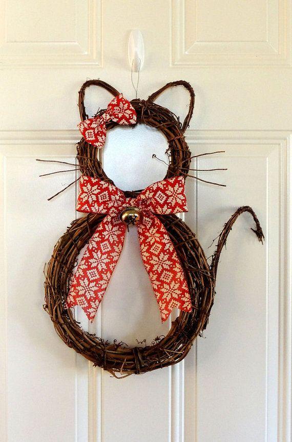Corona de gato Navidad guirnalda caprichosa Navidad guirnalda