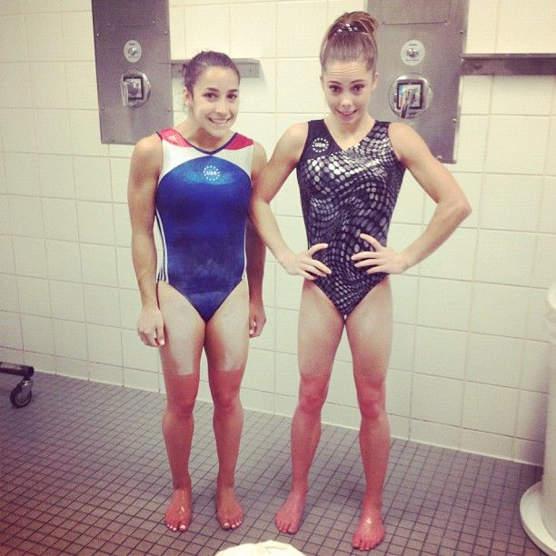 """""""just a little red❤ #frozen with @alyraisman"""" From Mckayla Maroney's Instagram. They had an ice bath :P :)"""