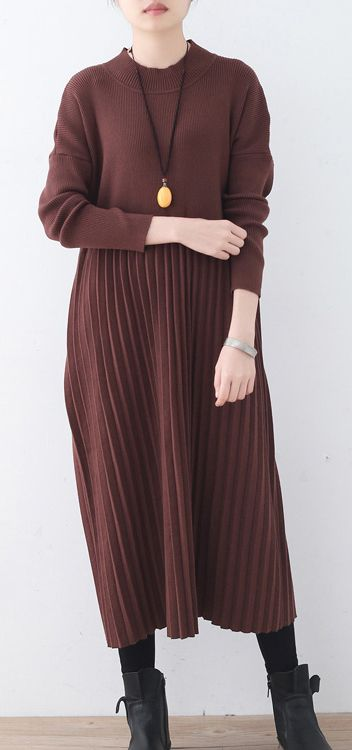 686581a5085f women chocolate sweater dresses trendy plus size high neck long knit ...
