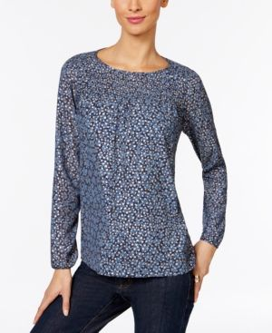 Michael Michael Kors Petite Metallic-Print Smocked Top - Blue P/XS