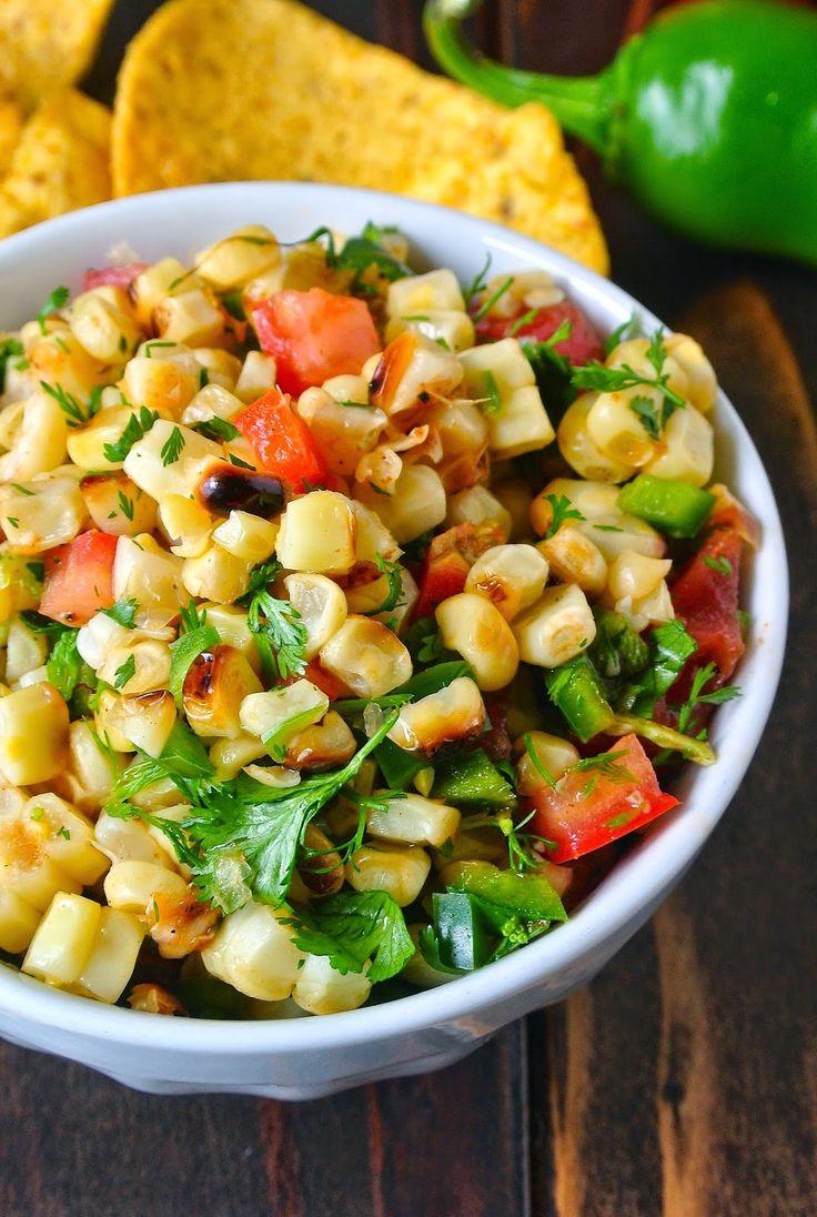 Corn, chili, tomato and cilantro. Corn, diced green chilis, diced cherry…