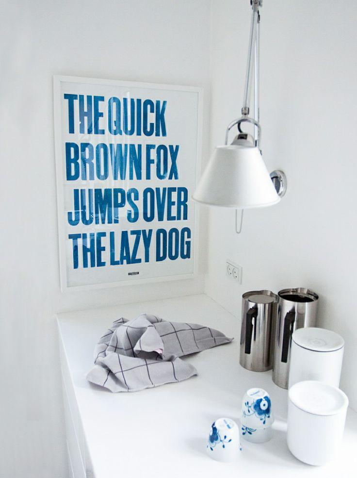 Quick fox, lazy dog blå