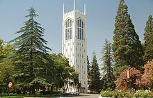 Burns Tower on the University of the Pacific campus.