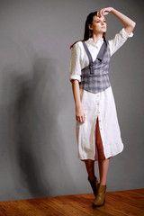 Two-tone Asymmetric Wool Blend Suspender Vest