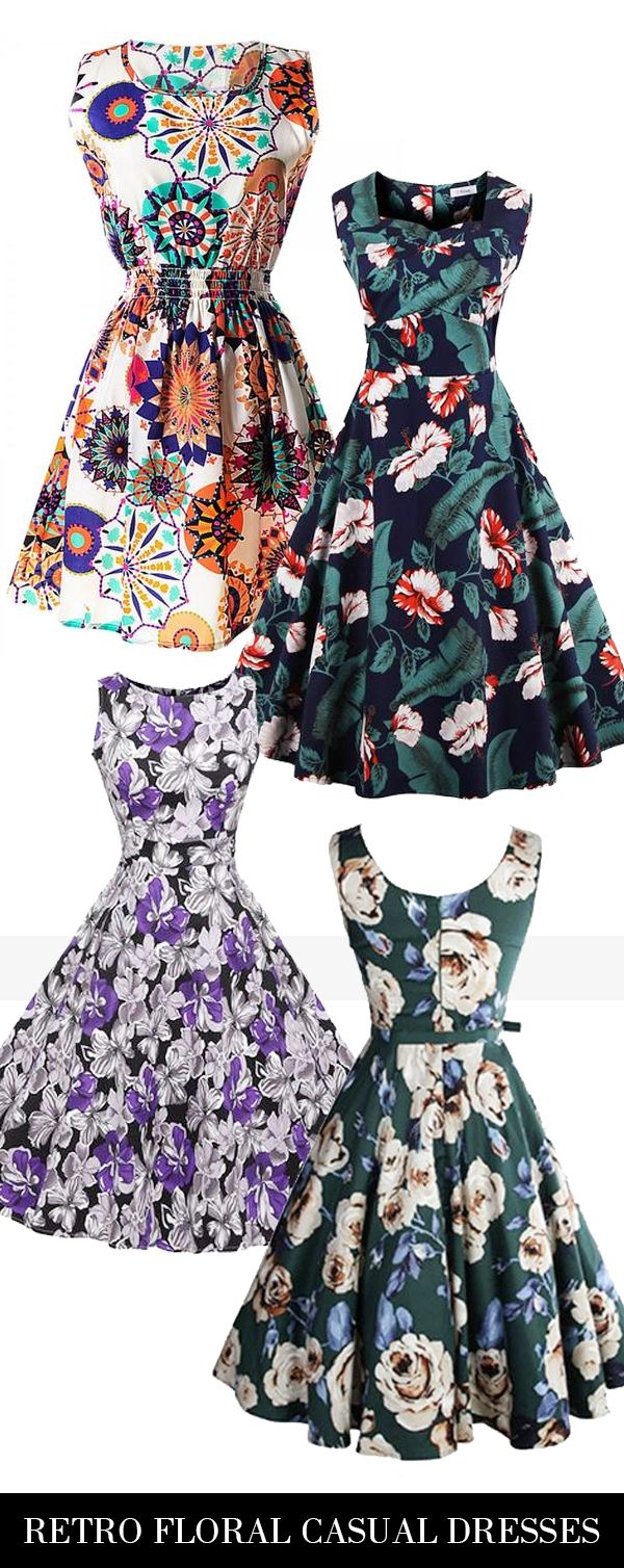 Fashion vintage floral dress collection! Lovely sweet Floral, more styles at bellolla.com