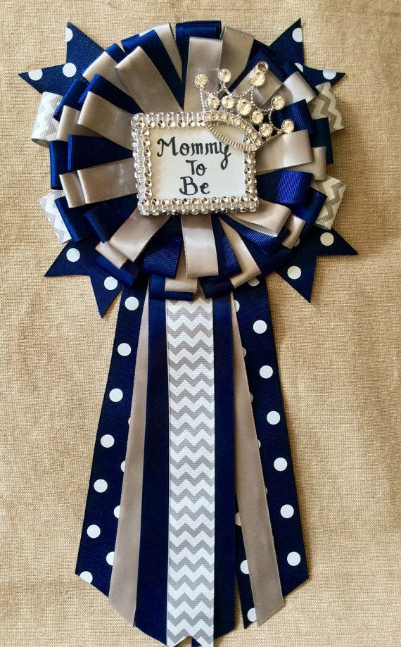 Little Prince Baby Shower Mommy To Be Pin   Little Prince Corsage In Navy  Blue, Gray And Silver  Navy Blue And Gray Baby Shower Royal Prince
