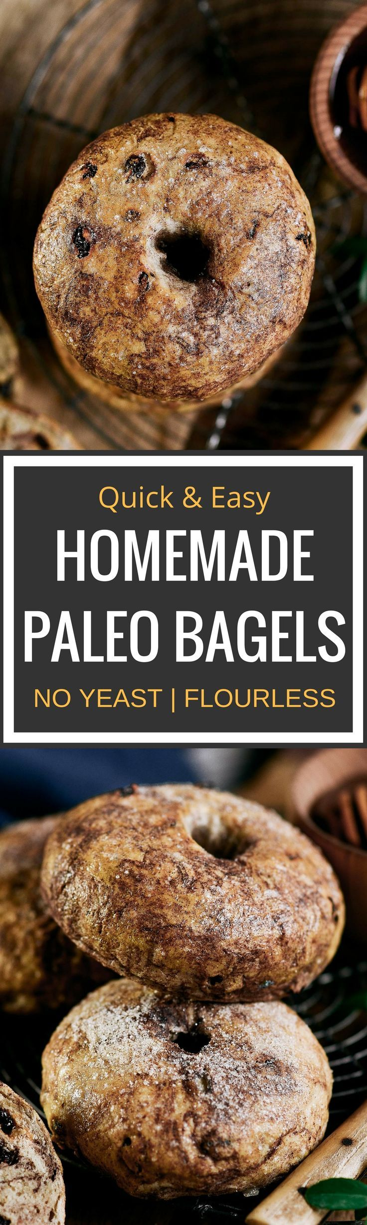 Best homemade bagel recipe! Flourless and gluten free bagel recipe. Looks and tastes like the real thing! Cinnamon swirls with sweet raisins. Paleo Diet bagel recipe. Easy gluten free bread recipe. Quick healthy paleo bread and snack.