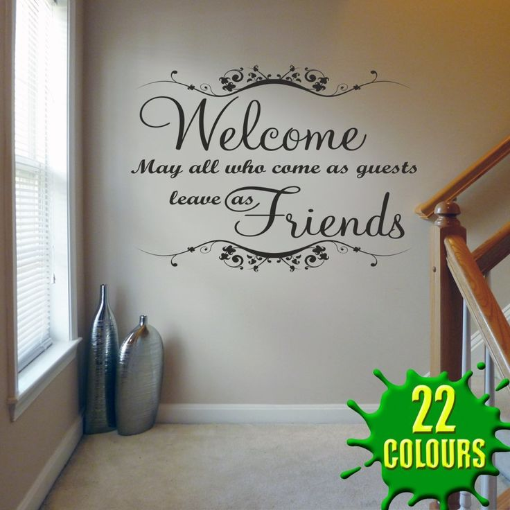 Welcome May all Who Come V1 - Wall Decal Sticker Quote lounge living room bedroom (Medium): Amazon.co.uk: Kitchen & Home