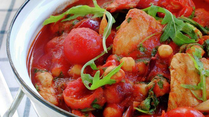 Tomatgryte med skinkebiff - Sunn - Oppskrifter - MatPrat