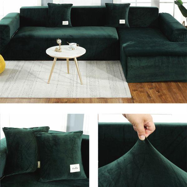 33 25 45 Off Solid Color Thick Velvet Universal Elastic Sofa Cover For Living Room Sofa Towel Slip Resist In 2020 Sofa Covers Living Room Sofa Corner Sofa Covers
